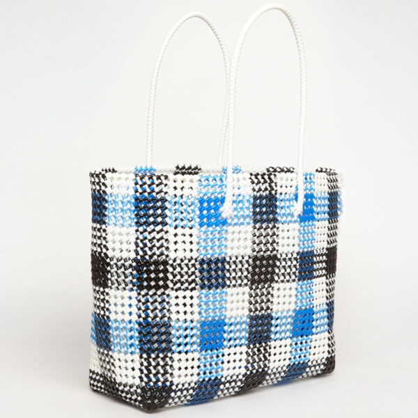 Black - Blue Recycled Plastic Weave Tote-0