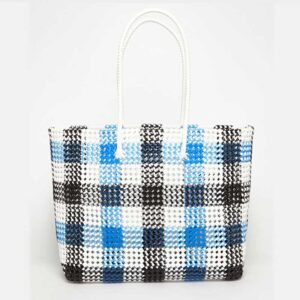Black - Blue Recycled Plastic Weave Tote-5381