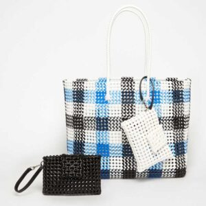 Black - Blue Recycled Plastic Weave Tote-5383