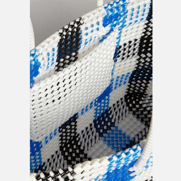Black - Blue Recycled Plastic Weave Tote-5384