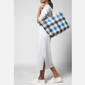 Black - Blue Recycled Plastic Weave Tote-5385