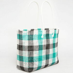 Black - Green Recycled Plastic Weave Tote-0