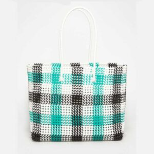 Black - Green Recycled Plastic Weave Tote-5392