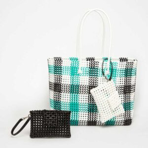 Black - Green Recycled Plastic Weave Tote-5391