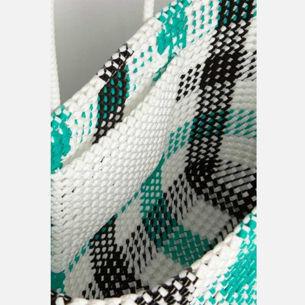 Black - Green Recycled Plastic Weave Tote-5395