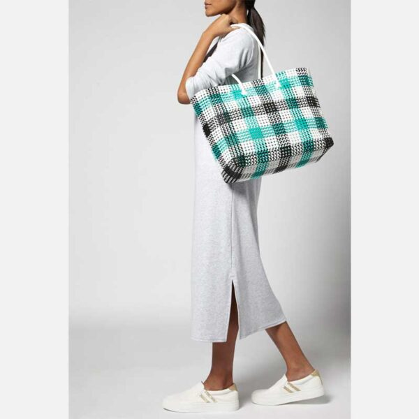 Black - Green Recycled Plastic Weave Tote-5393