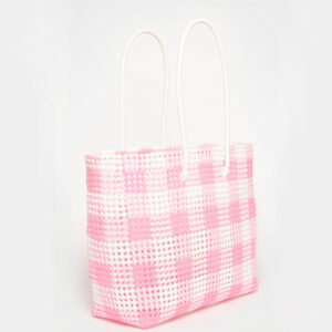 White - Pink Recycled Plastic Weave Tote-0