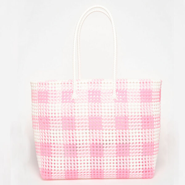 White - Pink Recycled Plastic Weave Tote-5269