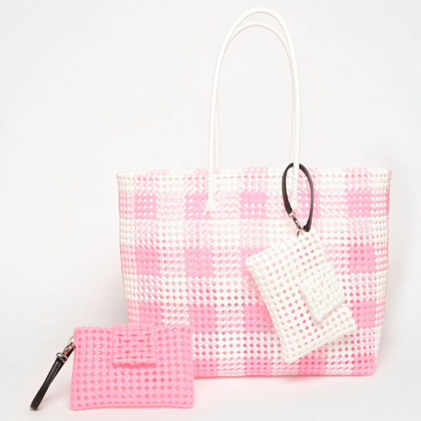 White - Pink Recycled Plastic Weave Tote-5270