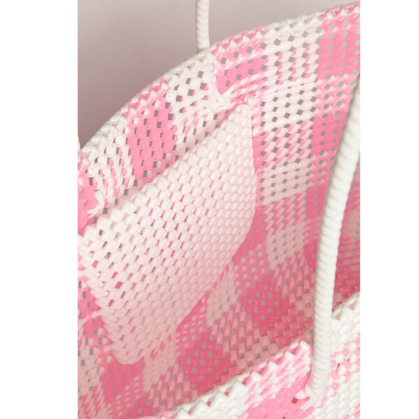 White - Pink Recycled Plastic Weave Tote-5267