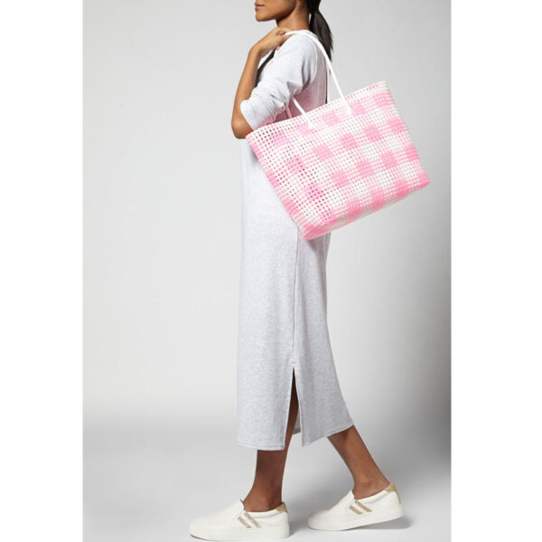 White - Pink Recycled Plastic Weave Tote-5271