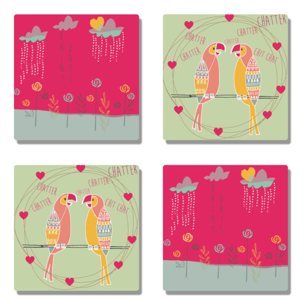 Chatter Chatter Birds Coasters (Set of 4)-0