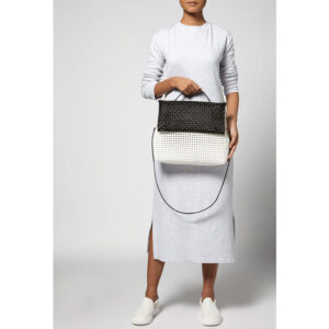 White - Black Recycled Plastic Weave Sling Bag-5252