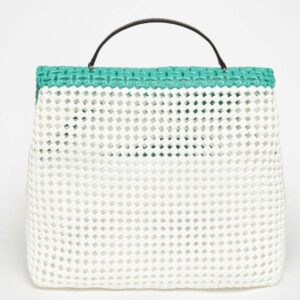 White - Green Recycled Plastic Weave Sling Bag-5279