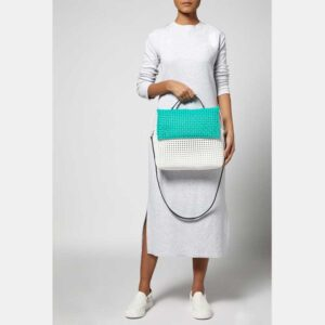 White - Green Recycled Plastic Weave Sling Bag-5280