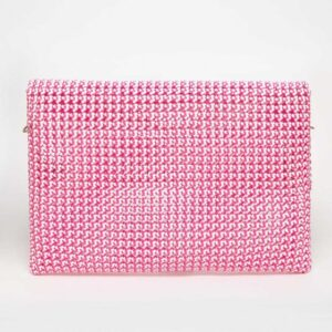 White - Pink Recycled Plastic Weave Clutch-5365
