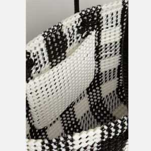 Black - Grey Recycled Plastic Weave Tote-5374